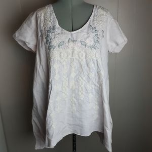 Johnny Was blush embroidered linen top